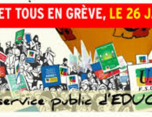 Mardi 26 janvier, Pour l'éducation, Grève et manifestation à 10h au départ de la place Delille