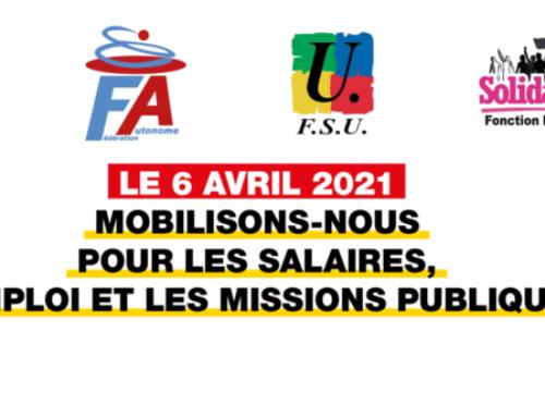 LE 6 AVRIL 2021, POUR LES SERVICES PUBLICS, MOBILISONS-NOUS POUR L'EMPLOI ET LES SALAIRES !