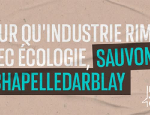 """Pour qu'industrie rime avec écologie, les organisations de """"Plus jamais ça"""" appellent à la sauvegarde de Chapelle-Darblay."""